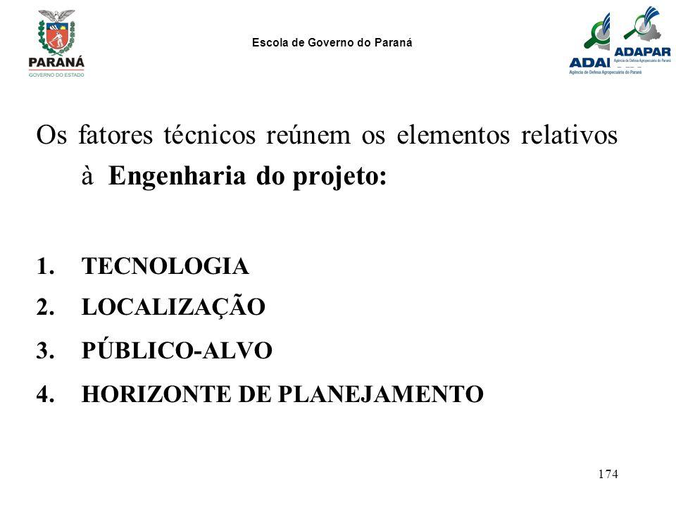 Escola de Governo do Paraná 174 Os fatores técnicos reúnem os elementos relativos à Engenharia do projeto: 1.TECNOLOGIA 2.LOCALIZAÇÃO 3.PÚBLICO-ALVO 4