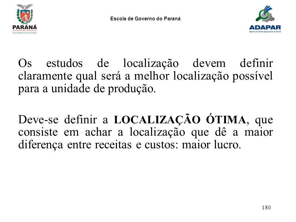 Escola de Governo do Paraná 180 Os estudos de localização devem definir claramente qual será a melhor localização possível para a unidade de produção.