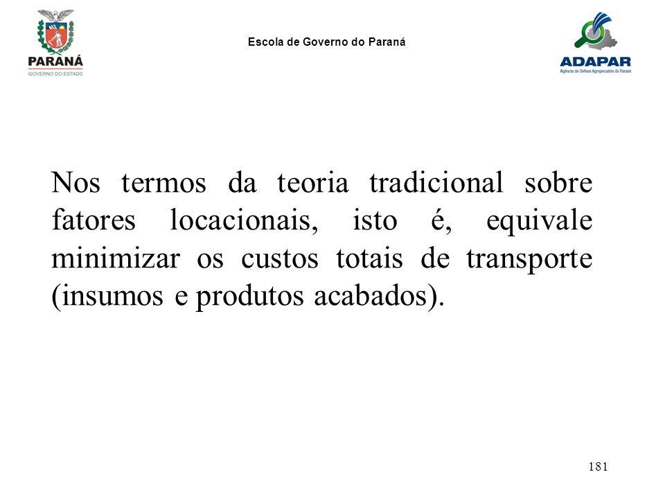 Escola de Governo do Paraná 181 Nos termos da teoria tradicional sobre fatores locacionais, isto é, equivale minimizar os custos totais de transporte