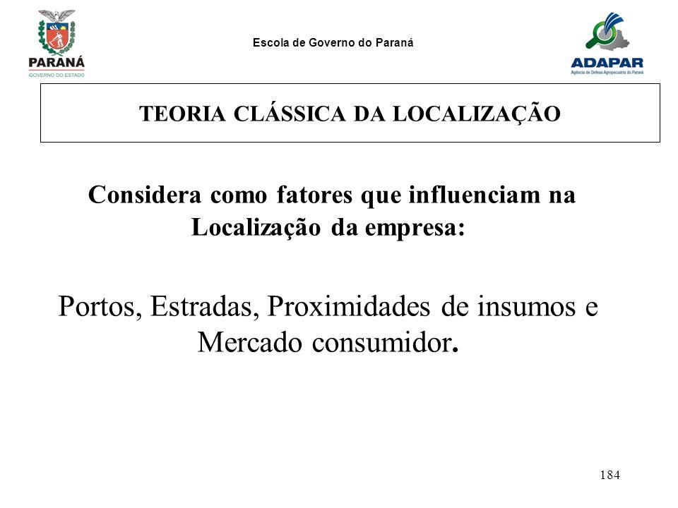 Escola de Governo do Paraná 184 TEORIA CLÁSSICA DA LOCALIZAÇÃO Considera como fatores que influenciam na Localização da empresa: Portos, Estradas, Pro