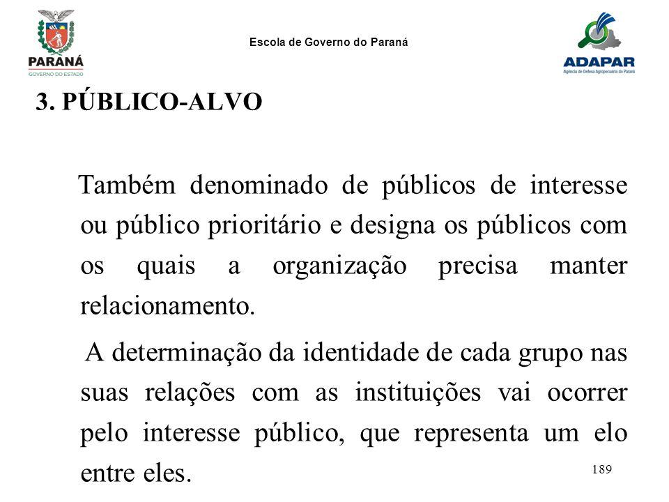 Escola de Governo do Paraná 189 3. PÚBLICO-ALVO Também denominado de públicos de interesse ou público prioritário e designa os públicos com os quais a