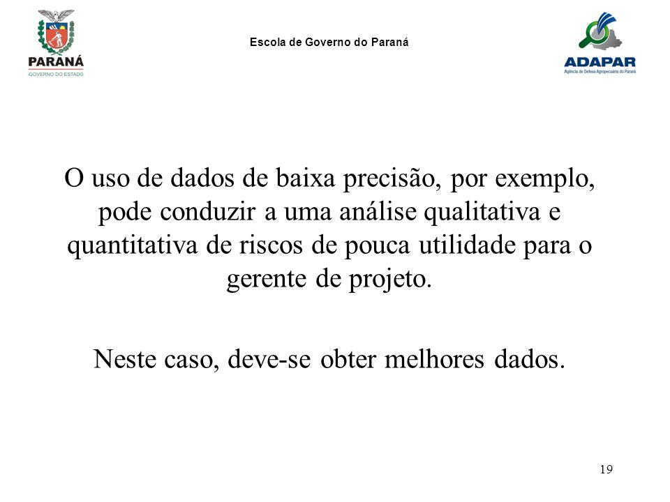 Escola de Governo do Paraná 19 O uso de dados de baixa precisão, por exemplo, pode conduzir a uma análise qualitativa e quantitativa de riscos de pouc