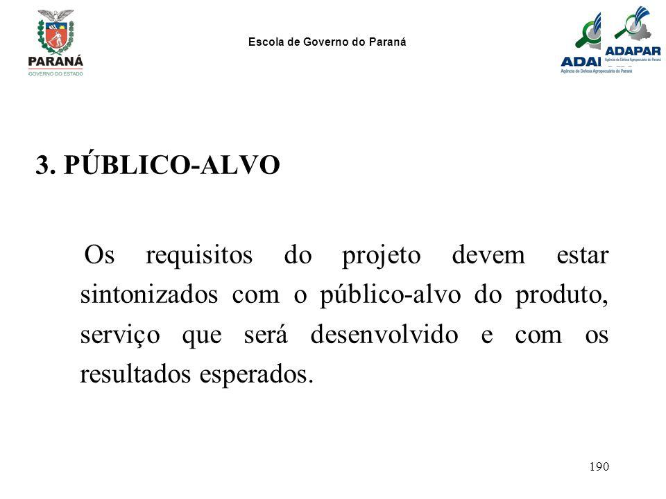 Escola de Governo do Paraná 190 3. PÚBLICO-ALVO Os requisitos do projeto devem estar sintonizados com o público-alvo do produto, serviço que será dese