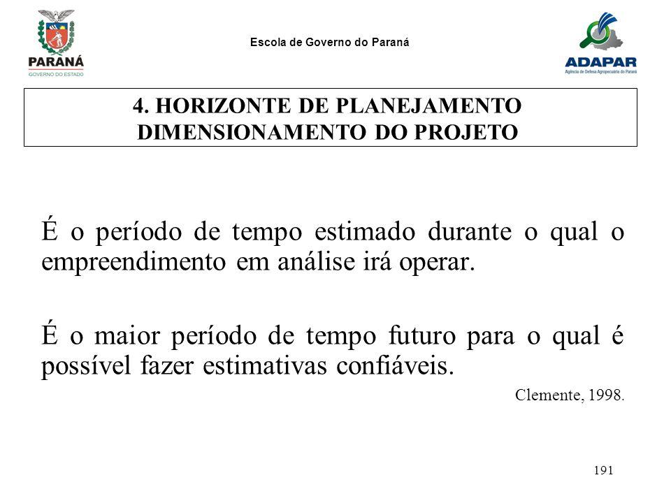 Escola de Governo do Paraná 191 É o período de tempo estimado durante o qual o empreendimento em análise irá operar. É o maior período de tempo futuro