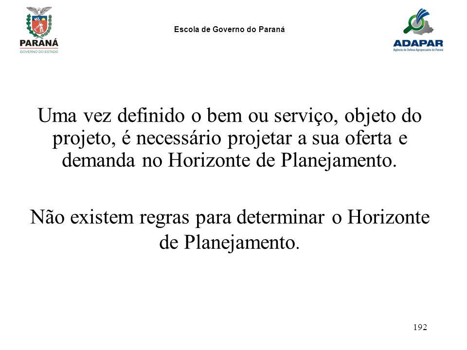 Escola de Governo do Paraná 192 Uma vez definido o bem ou serviço, objeto do projeto, é necessário projetar a sua oferta e demanda no Horizonte de Pla