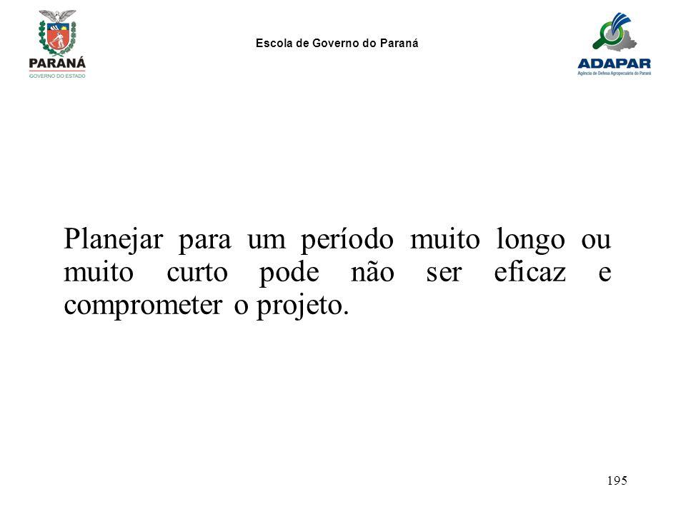 Escola de Governo do Paraná 195 Planejar para um período muito longo ou muito curto pode não ser eficaz e comprometer o projeto.