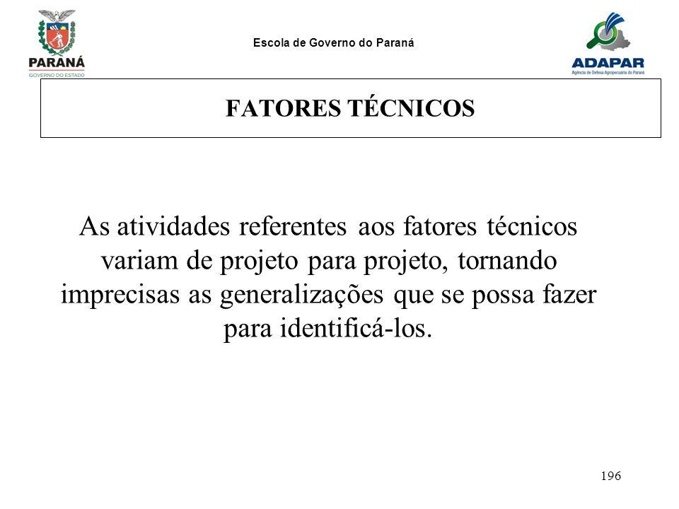 Escola de Governo do Paraná 196 FATORES TÉCNICOS As atividades referentes aos fatores técnicos variam de projeto para projeto, tornando imprecisas as