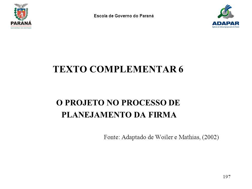 Escola de Governo do Paraná 197 TEXTO COMPLEMENTAR 6 O PROJETO NO PROCESSO DE PLANEJAMENTO DA FIRMA Fonte: Adaptado de Woiler e Mathias, (2002)