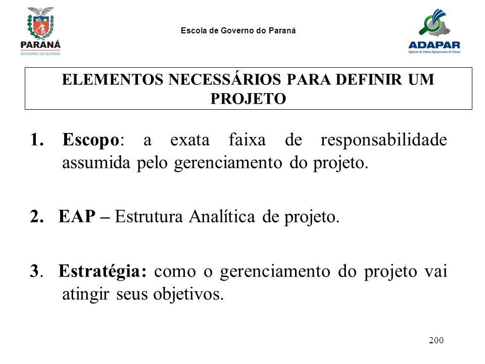Escola de Governo do Paraná 200 ELEMENTOS NECESSÁRIOS PARA DEFINIR UM PROJETO 1.Escopo: a exata faixa de responsabilidade assumida pelo gerenciamento