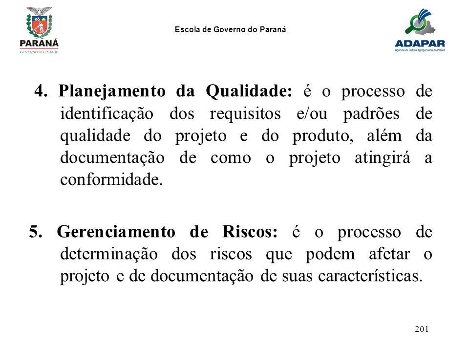 Escola de Governo do Paraná 201 4. Planejamento da Qualidade: é o processo de identificação dos requisitos e/ou padrões de qualidade do projeto e do p
