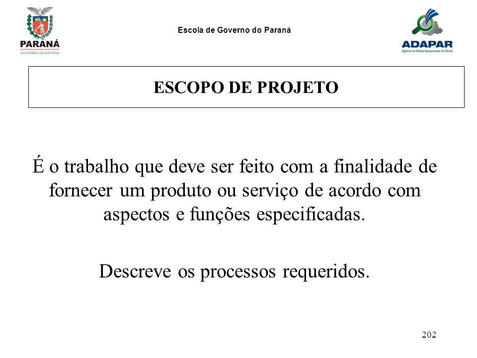 Escola de Governo do Paraná 202 ESCOPO DE PROJETO É o trabalho que deve ser feito com a finalidade de fornecer um produto ou serviço de acordo com asp