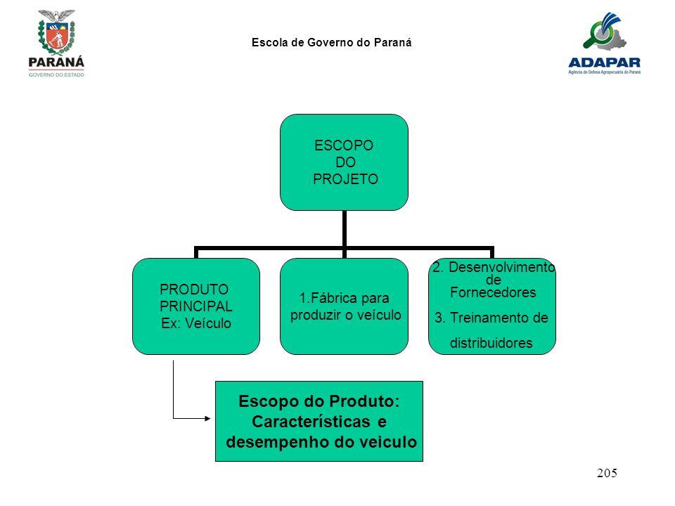 Escola de Governo do Paraná 205 ESCOPO DO PROJETO PRODUTO PRINCIPAL Ex: Veículo 1.Fábrica para produzir o veículo 2. Desenvolvimento de Fornecedores 3