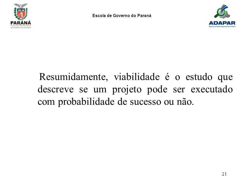 Escola de Governo do Paraná 21 Resumidamente, viabilidade é o estudo que descreve se um projeto pode ser executado com probabilidade de sucesso ou não
