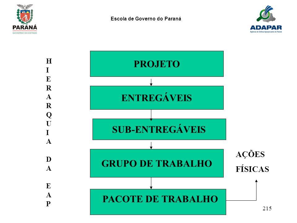 Escola de Governo do Paraná 215 PROJETO ENTREGÁVEIS SUB-ENTREGÁVEIS GRUPO DE TRABALHO HIERARQUIADAEAPHIERARQUIADAEAP PACOTE DE TRABALHO AÇÕES FÍSICAS
