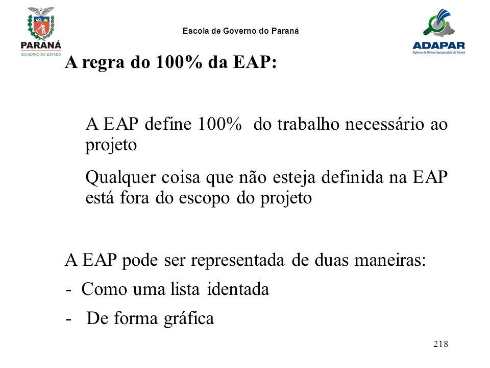 Escola de Governo do Paraná 218 A regra do 100% da EAP: A EAP define 100% do trabalho necessário ao projeto Qualquer coisa que não esteja definida na