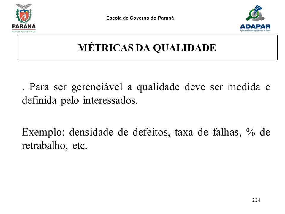 Escola de Governo do Paraná 224 MÉTRICAS DA QUALIDADE. Para ser gerenciável a qualidade deve ser medida e definida pelo interessados. Exemplo: densida