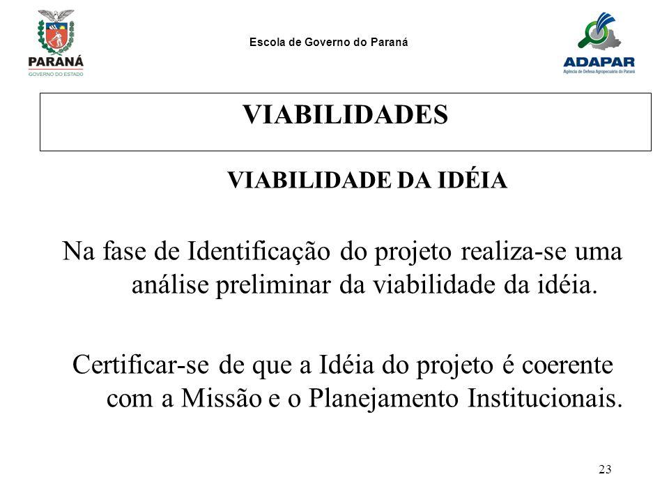 Escola de Governo do Paraná 23 VIABILIDADES VIABILIDADE DA IDÉIA Na fase de Identificação do projeto realiza-se uma análise preliminar da viabilidade