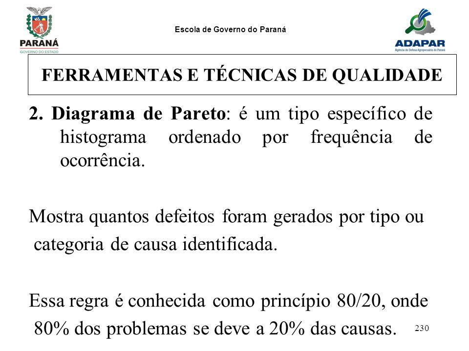 Escola de Governo do Paraná 230 FERRAMENTAS E TÉCNICAS DE QUALIDADE 2. Diagrama de Pareto: é um tipo específico de histograma ordenado por frequência