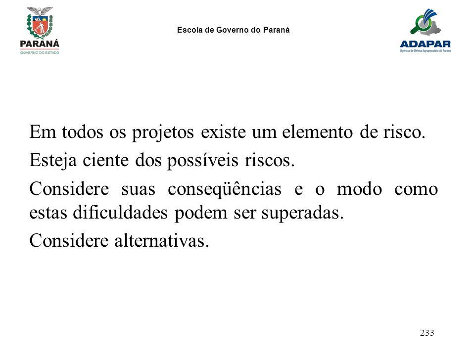 Escola de Governo do Paraná 233 Em todos os projetos existe um elemento de risco. Esteja ciente dos possíveis riscos. Considere suas conseqüências e o