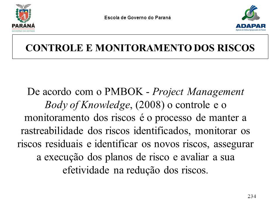 Escola de Governo do Paraná 234 CONTROLE E MONITORAMENTO DOS RISCOS De acordo com o PMBOK - Project Management Body of Knowledge, (2008) o controle e