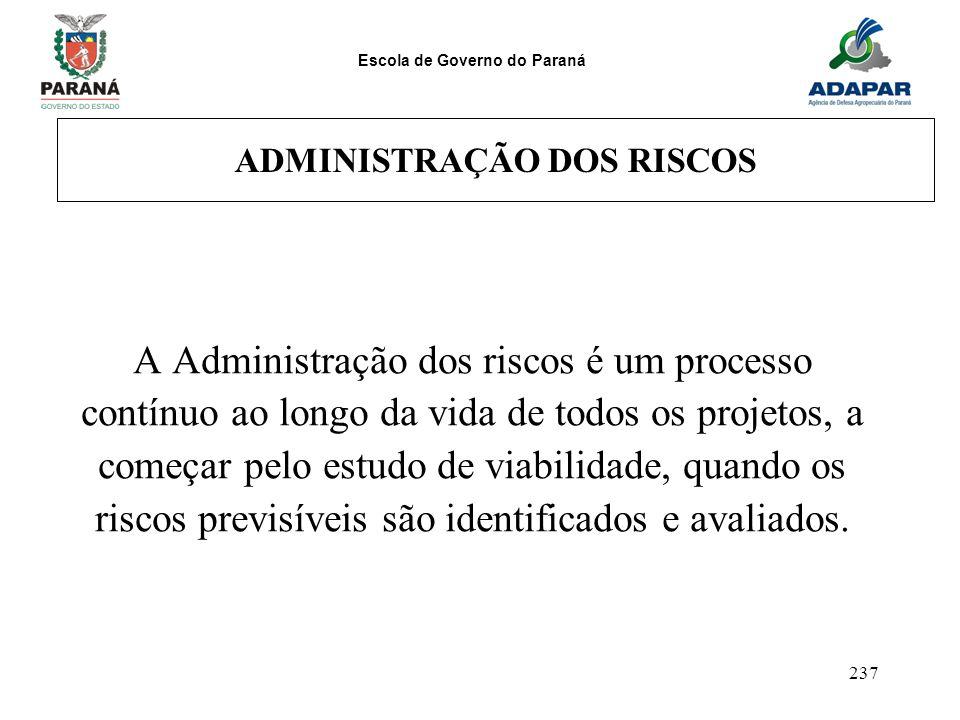 Escola de Governo do Paraná 237 ADMINISTRAÇÃO DOS RISCOS A Administração dos riscos é um processo contínuo ao longo da vida de todos os projetos, a co