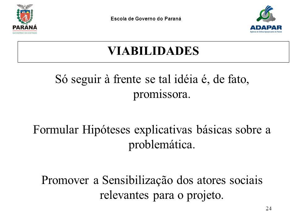 Escola de Governo do Paraná 24 VIABILIDADES Só seguir à frente se tal idéia é, de fato, promissora. Formular Hipóteses explicativas básicas sobre a pr