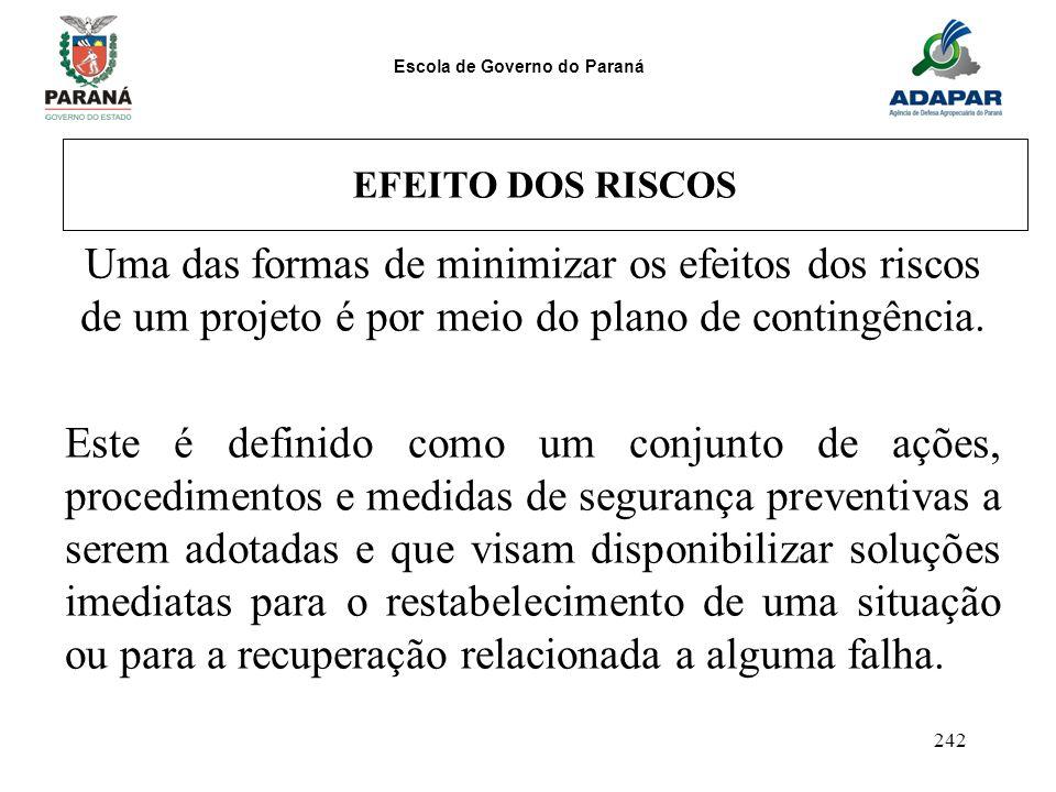 Escola de Governo do Paraná 242 EFEITO DOS RISCOS Uma das formas de minimizar os efeitos dos riscos de um projeto é por meio do plano de contingência.