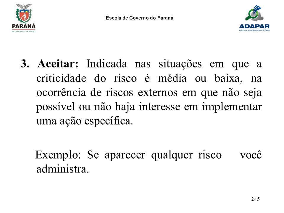 Escola de Governo do Paraná 245 3. Aceitar: Indicada nas situações em que a criticidade do risco é média ou baixa, na ocorrência de riscos externos em
