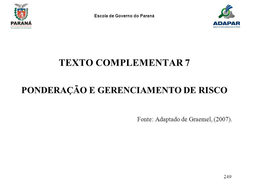 Escola de Governo do Paraná 249 TEXTO COMPLEMENTAR 7 PONDERAÇÃO E GERENCIAMENTO DE RISCO Fonte: Adaptado de Graemel, (2007).