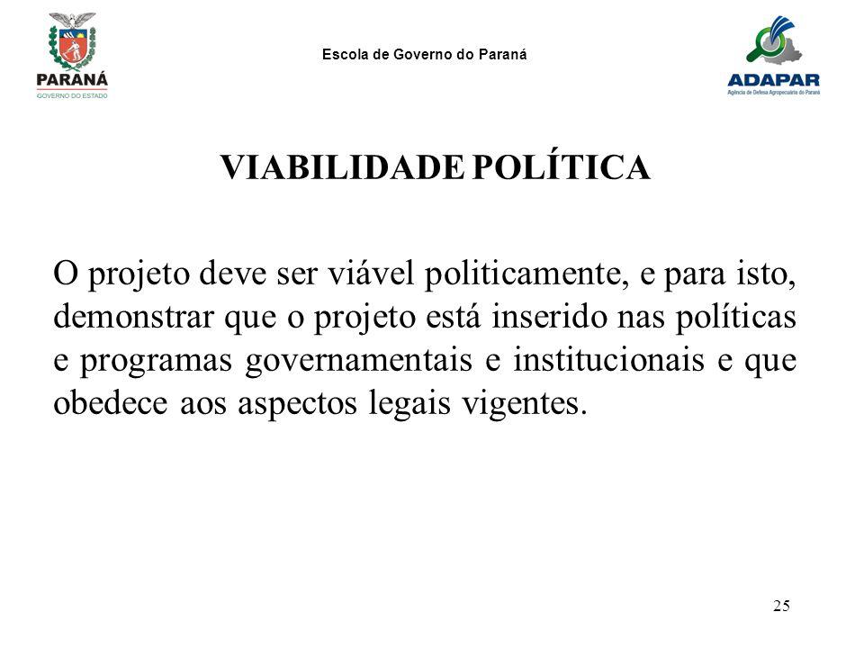 Escola de Governo do Paraná 25 VIABILIDADE POLÍTICA O projeto deve ser viável politicamente, e para isto, demonstrar que o projeto está inserido nas p