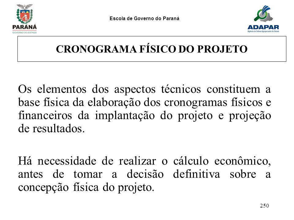 Escola de Governo do Paraná 250 CRONOGRAMA FÍSICO DO PROJETO Os elementos dos aspectos técnicos constituem a base física da elaboração dos cronogramas