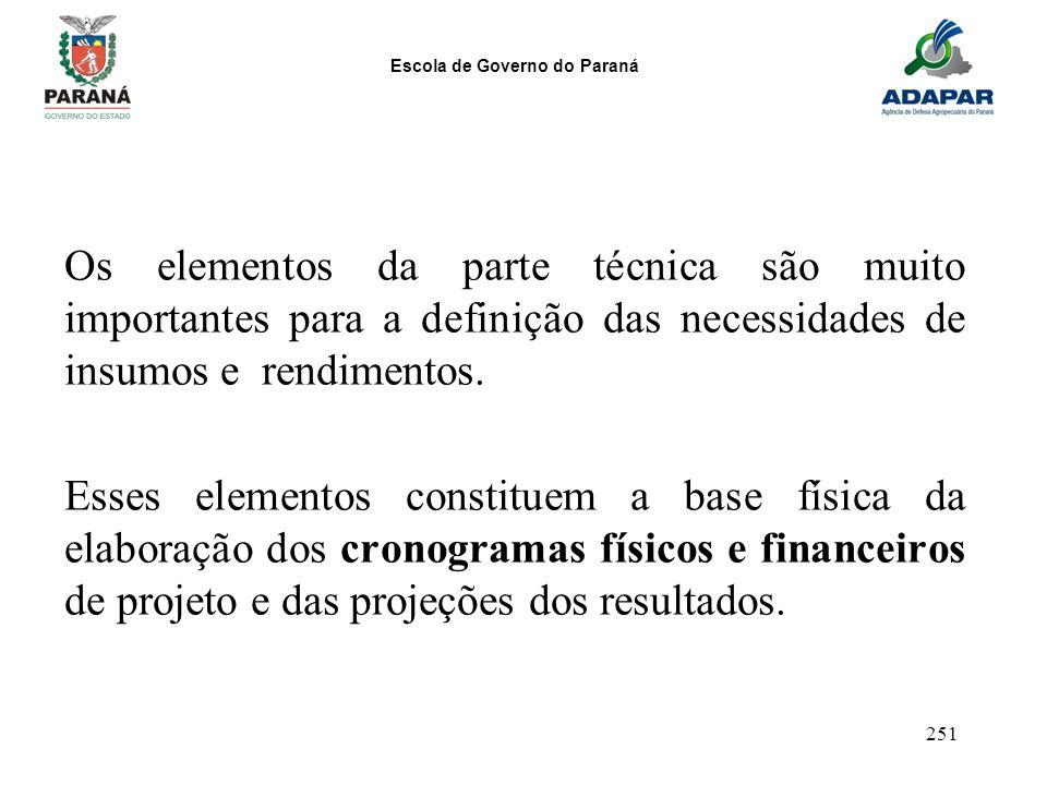 Escola de Governo do Paraná 251 Os elementos da parte técnica são muito importantes para a definição das necessidades de insumos e rendimentos. Esses