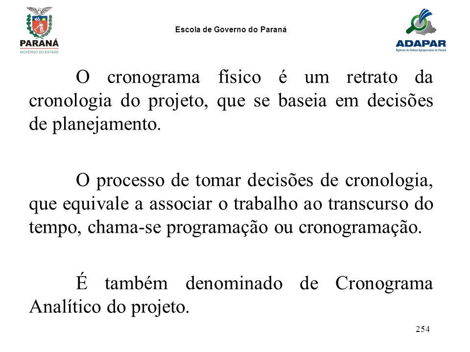 Escola de Governo do Paraná 254 O cronograma físico é um retrato da cronologia do projeto, que se baseia em decisões de planejamento. O processo de to