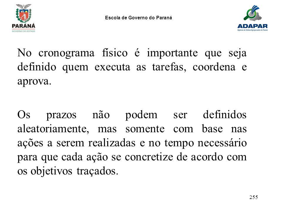 Escola de Governo do Paraná 255 No cronograma físico é importante que seja definido quem executa as tarefas, coordena e aprova. Os prazos não podem se