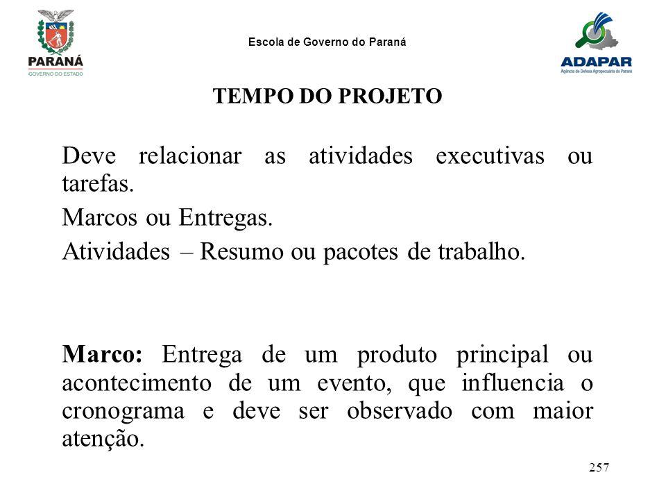 Escola de Governo do Paraná 257 TEMPO DO PROJETO Deve relacionar as atividades executivas ou tarefas. Marcos ou Entregas. Atividades – Resumo ou pacot