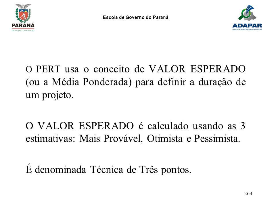 Escola de Governo do Paraná 264 O PERT usa o conceito de VALOR ESPERADO (ou a Média Ponderada) para definir a duração de um projeto. O VALOR ESPERADO