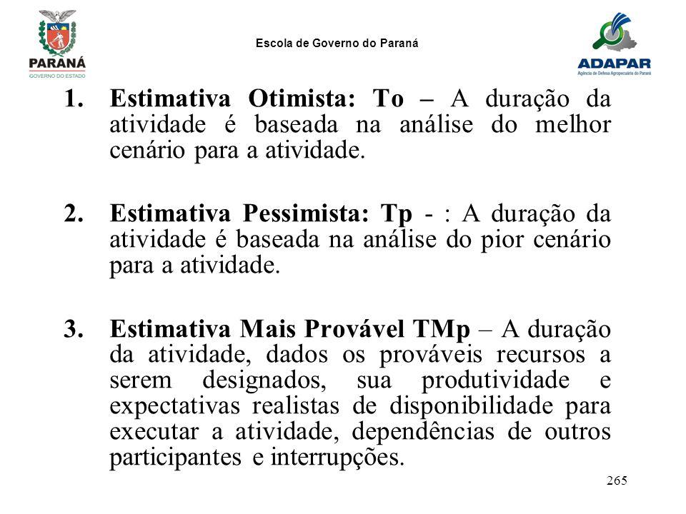 Escola de Governo do Paraná 265 1.Estimativa Otimista: To – A duração da atividade é baseada na análise do melhor cenário para a atividade. 2.Estimati