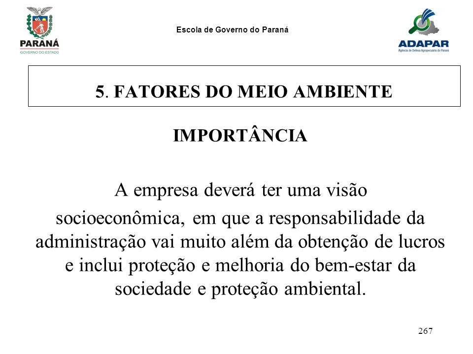 Escola de Governo do Paraná 267 5. FATORES DO MEIO AMBIENTE IMPORTÂNCIA A empresa deverá ter uma visão socioeconômica, em que a responsabilidade da ad