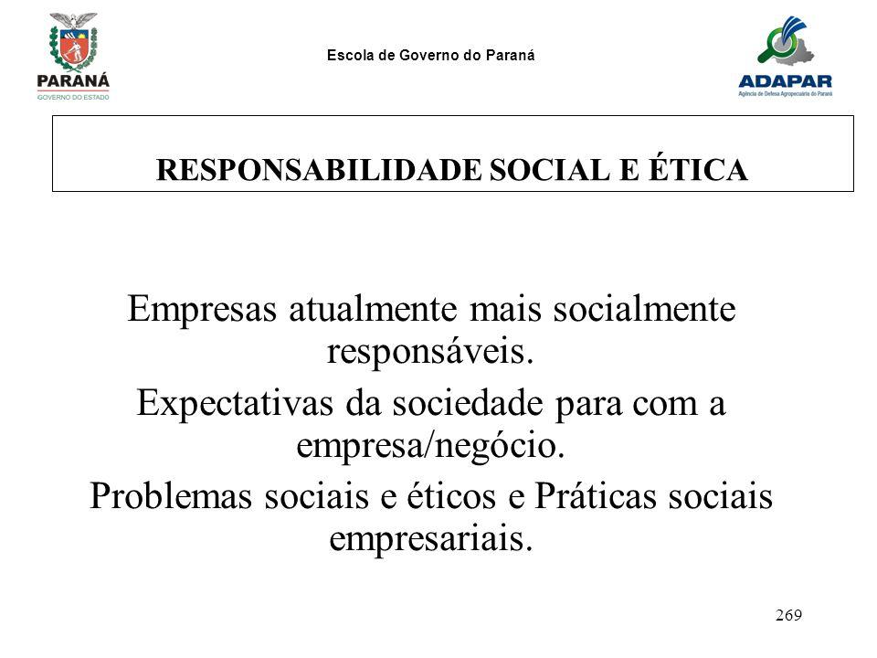 Escola de Governo do Paraná 269 RESPONSABILIDADE SOCIAL E ÉTICA Empresas atualmente mais socialmente responsáveis. Expectativas da sociedade para com