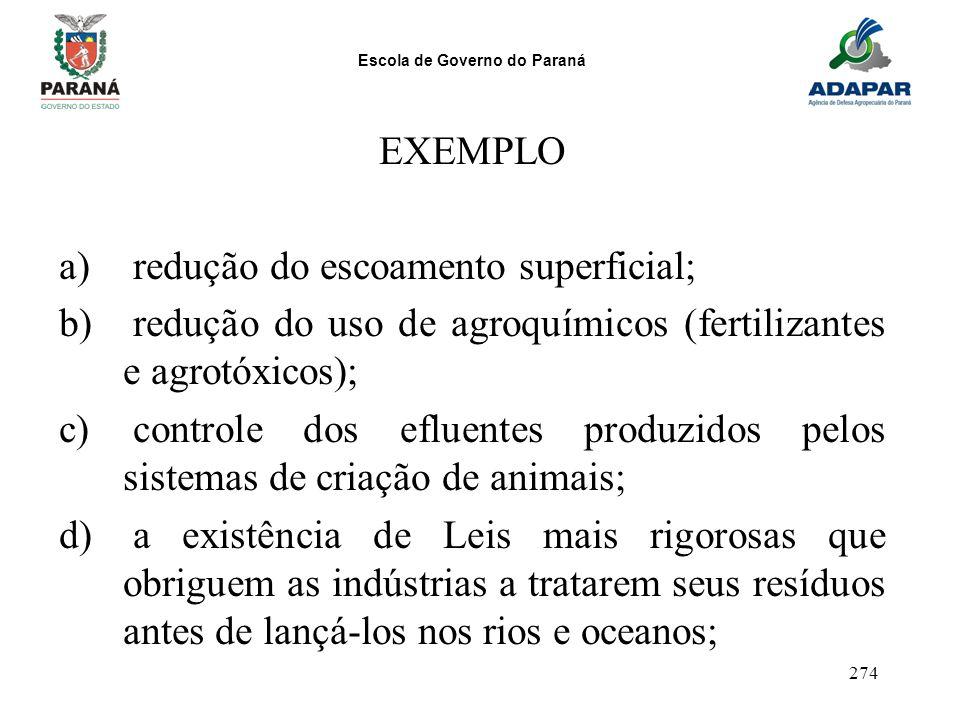 Escola de Governo do Paraná 274 EXEMPLO a) redução do escoamento superficial; b) redução do uso de agroquímicos (fertilizantes e agrotóxicos); c) cont