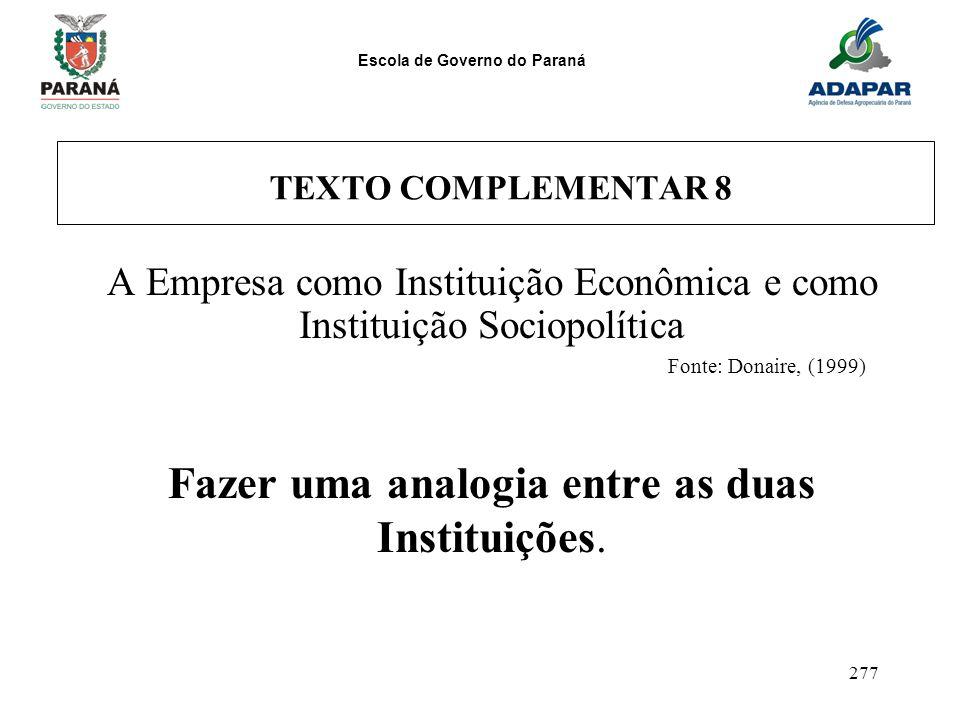 Escola de Governo do Paraná 277 TEXTO COMPLEMENTAR 8 A Empresa como Instituição Econômica e como Instituição Sociopolítica Fonte: Donaire, (1999) Faze