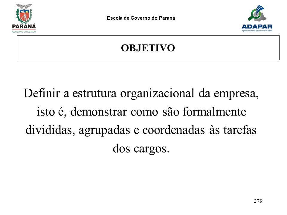 Escola de Governo do Paraná 279 OBJETIVO Definir a estrutura organizacional da empresa, isto é, demonstrar como são formalmente divididas, agrupadas e