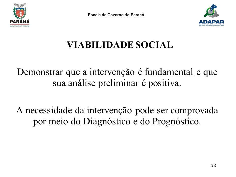 Escola de Governo do Paraná 28 VIABILIDADE SOCIAL Demonstrar que a intervenção é fundamental e que sua análise preliminar é positiva. A necessidade da