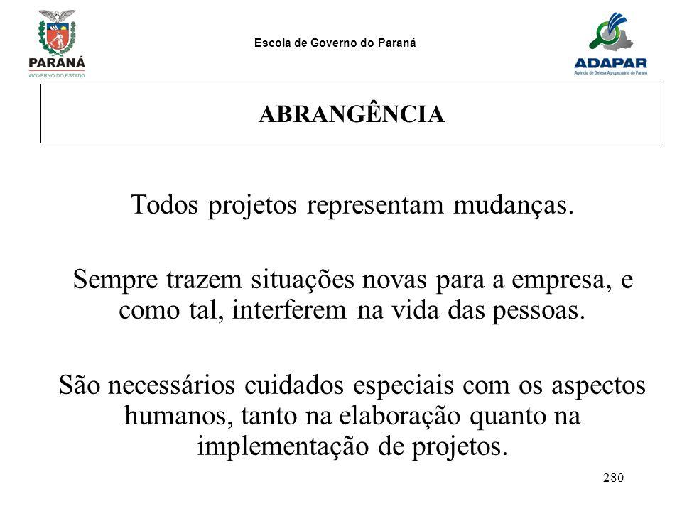 Escola de Governo do Paraná 280 ABRANGÊNCIA Todos projetos representam mudanças. Sempre trazem situações novas para a empresa, e como tal, interferem