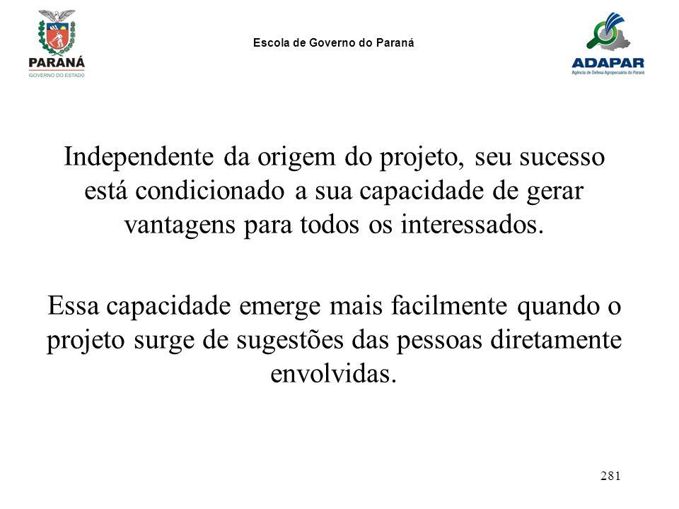 Escola de Governo do Paraná 281 Independente da origem do projeto, seu sucesso está condicionado a sua capacidade de gerar vantagens para todos os int