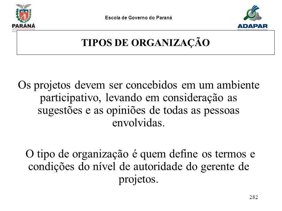 Escola de Governo do Paraná 282 TIPOS DE ORGANIZAÇÃO Os projetos devem ser concebidos em um ambiente participativo, levando em consideração as sugestõ