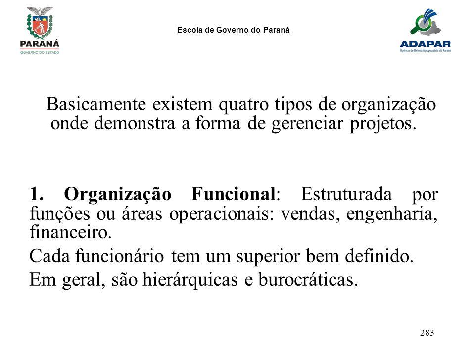 Escola de Governo do Paraná 283 Basicamente existem quatro tipos de organização onde demonstra a forma de gerenciar projetos. 1. Organização Funcional
