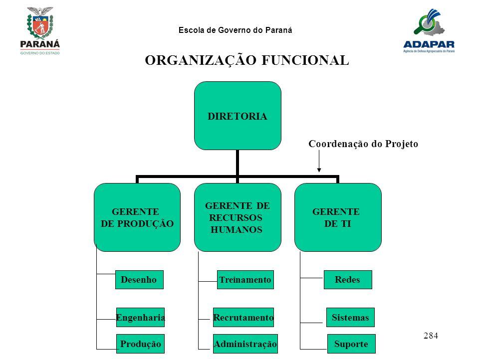 Escola de Governo do Paraná 284 DIRETORIA GERENTE DE PRODUÇÃO GERENTE DE RECURSOS HUMANOS GERENTE DE TI DesenhoRedes Treinamento EngenhariaSistemasRec