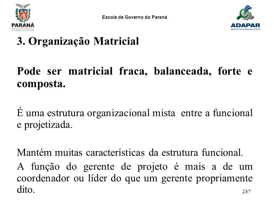 Escola de Governo do Paraná 287 3. Organização Matricial Pode ser matricial fraca, balanceada, forte e composta. É uma estrutura organizacional mista