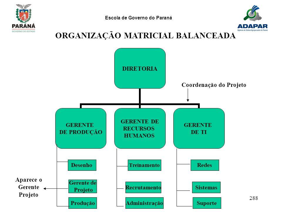 Escola de Governo do Paraná 288 DIRETORIA GERENTE DE PRODUÇÃO GERENTE DE RECURSOS HUMANOS GERENTE DE TI DesenhoRedes Treinamento Gerente de Projeto Si